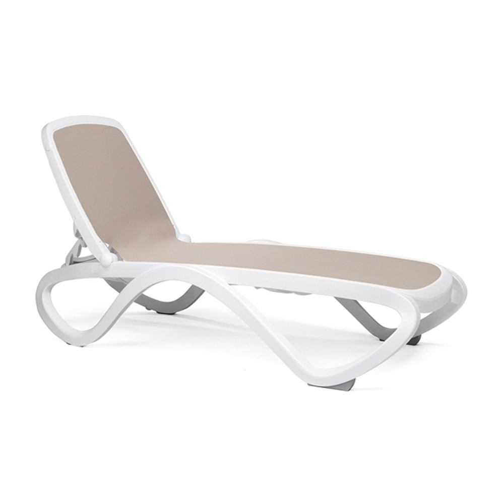 Omega Sun Lounger - White Frame & Taupe Synthetic Fabric