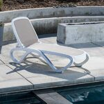 Omega Sun Lounger – White & Taupe (Pictured on Concrete Tiles next to Pool)
