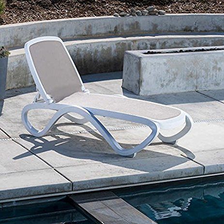 Omega Sun Lounger in White & Taupe Colour