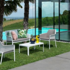 Net 4 Piece Lounge Patio Setting - White