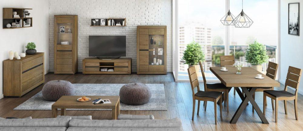 Bernina 7 Piece Dining Suite – Caramel Oak (Pictured in Apartment Setting)