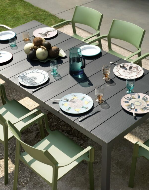 NARDI Trill Armchairs (Olive Green) & Rio Alu 210-280 Extendable Outdoor Table set with cutlery & plates for dining