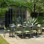 Trill Armchairs in Olive Green around Rio Alu 210-280 outdoor dining set