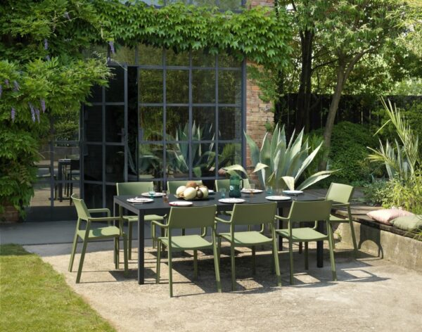 NARDI Trill Armchairs in Olive Green around Rio Alu 210-280 outdoor dining set