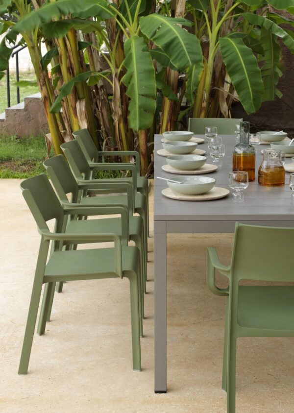 NARDI Trill Armchairs in Olive Green in dining set around Rio 210-280 Extendable Table in Taupe