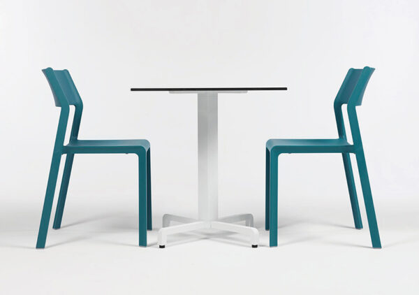 Two NARDI Trill Bistro Chairs in Teal (Pictured with Fiore Cafe Table)