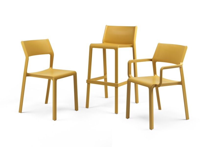 Trill Family Collection – Chair, Armchair and Bar Stool (Mustard Colour)