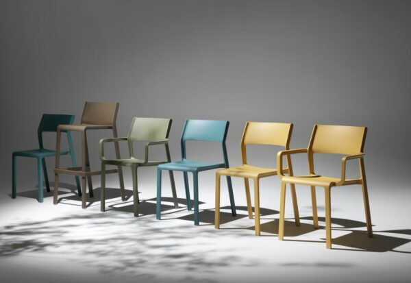 NARDI Trill Range – Bar Stool, Armchair, Bistro Chair in Teal, Tobacco, Olive Green and Mustard Yellow