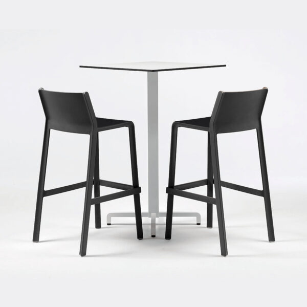 NARDI Trill Tall Bar Stools in Charcoal with Fiore Bar Leaner