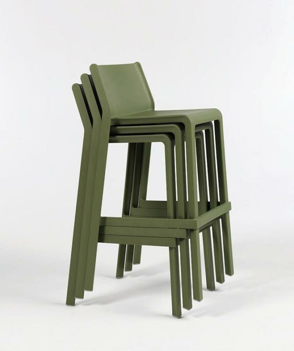 NARDI Trill Tall Bar Stools stacked together in Olive Green