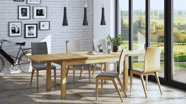 Henryk 7 Piece Dining Suite – Natural (Pictured in Dining Room with Polished Concrete Floor)