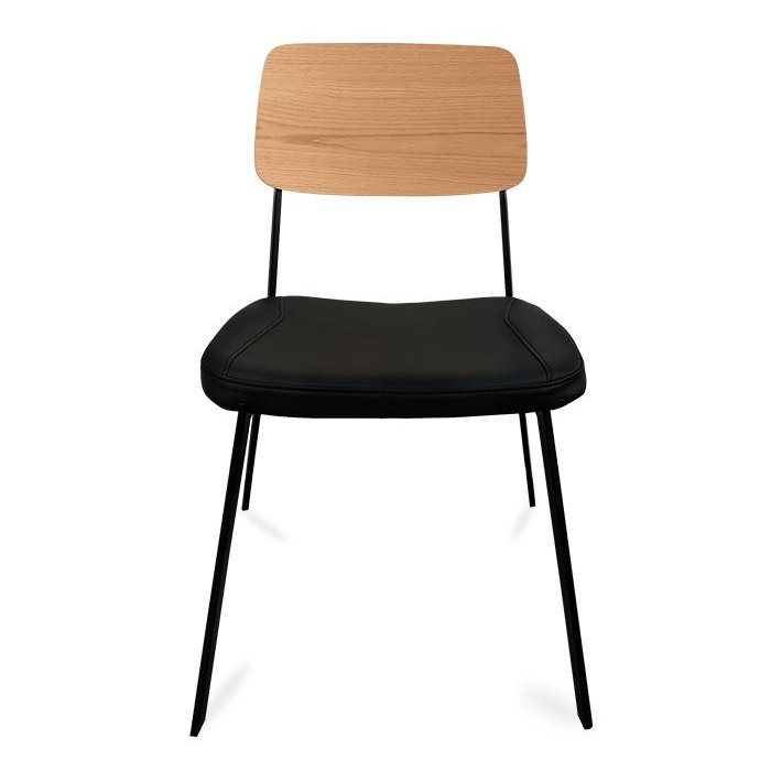 Berlin Chair - Black & Natural (Front View)