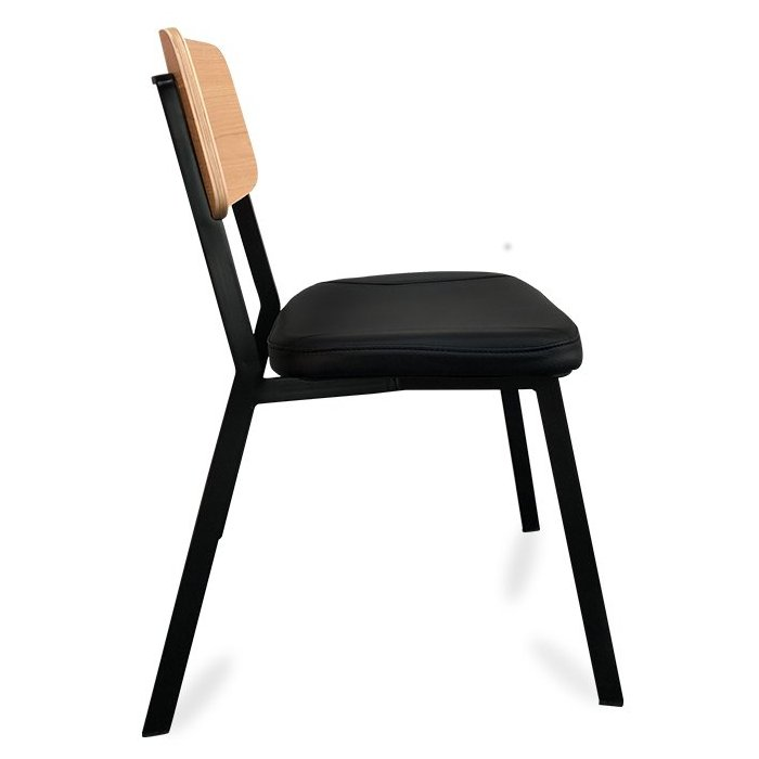 Berlin Chair - Black & Natural (Profile View)