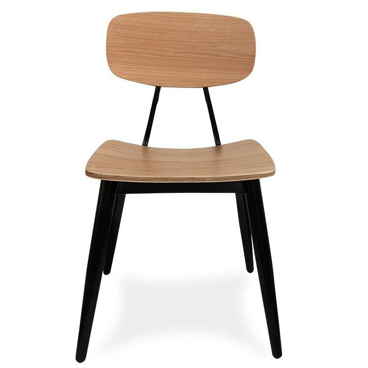 Eiffel Chair – Black & Natural (Front View)