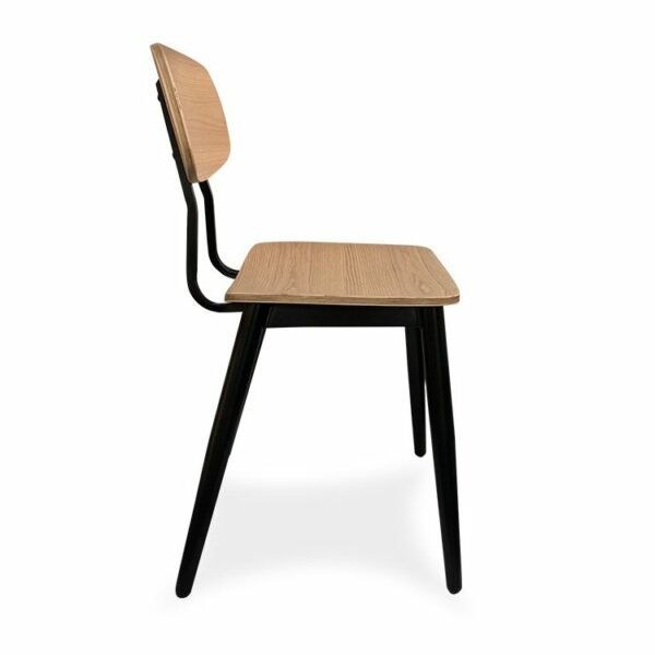 Eiffel Chair - Black & Natural (Front View)