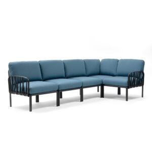 Komodo 5 Modular Outdoor Sofa - Charcoal Frame & Adriatic Teal Cushions