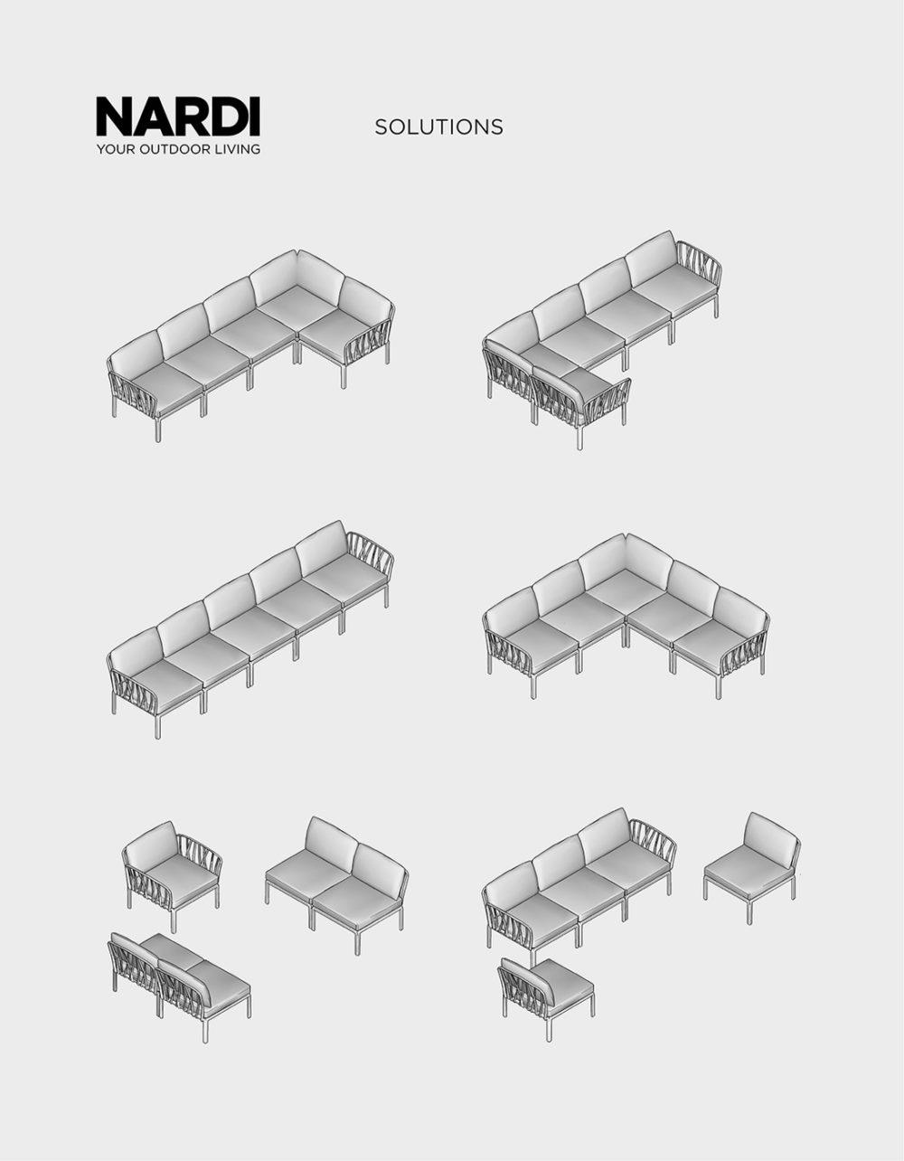 Komodo 5 Modular Outdoor Sofa – Possible Configurations Diagram)