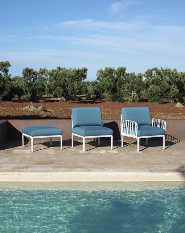 Komodo 5 Modular Outdoor Sofa - White Frame & Adriatic Teal Cushions (Pictured divided into Sectional or Modular Chairs)