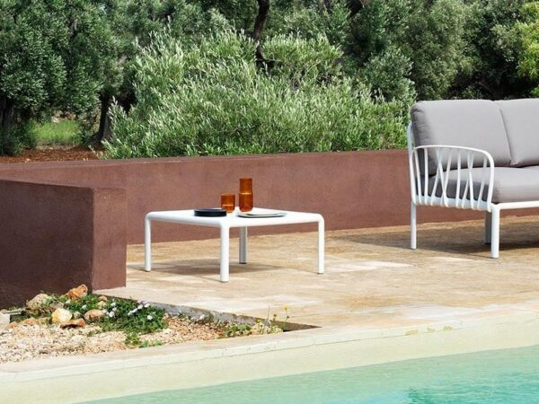 Komodo Outdoor Coffee Table in White (Pictured Poolside)