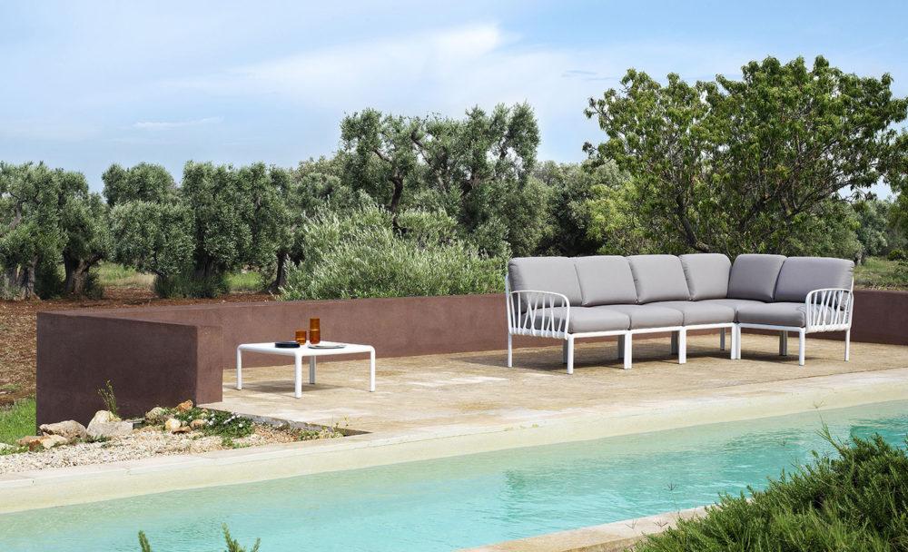 Komodo Outdoor Lounge Setting – Komodo Modular Outdoor Lounge Suite and Komodo Outdoor Coffee Table in White (Pictured By Pool)