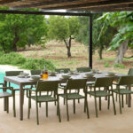 Trill Rio 10-Seater Outdoor Dining Set – Taupe Table & Olive Green Chairs