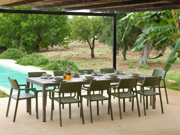 Trill Rio Outdoor Dining Set - Taupe Table & Olive Green Chairs