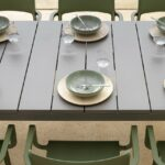 Trill Rio 10-Seater Outdoor Dining Set – Taupe Table & Olive Green Chairs (Close up view of Centre of Table + Chairs)