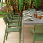 Trill Rio 10-Seater Outdoor Dining Set – Taupe Table & Olive Green Chairs (View from end of table)