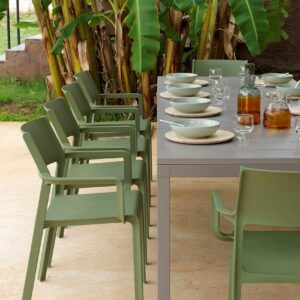 Trill Rio 10-Seater Outdoor Dining Set - Taupe Table & Olive Green Chairs (View from end of table)