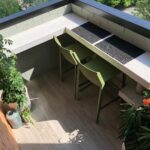 Two Trill Kitchen Counter Bar Stools Olive Green on Outdoor Balcony from above