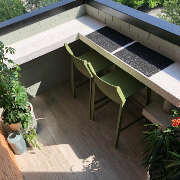 Two NARDI Trill Kitchen Counter Bar Stools in Olive Green on outdoor balcony view from above