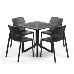 Clip Bit 5 Piece Patio Set - Charcoal Table & Charcoal Chairs
