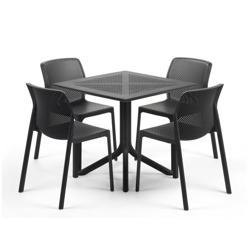 Clip Bit 5 Piece Patio Set – Charcoal Table & Charcoal Chairs