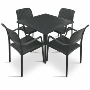 Clip Bora Armchair 5 Piece Patio Set - Charcoal Table & Charcoal Chairs