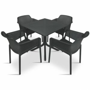 Clip Net 5 Piece Garden Set - Charcoal Table & Charcoal Chairs