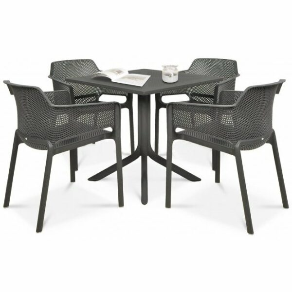 Clip Net 5 Piece Garden Set - Charcoal Table & Charcoal Chairs (Pictured with table decor)