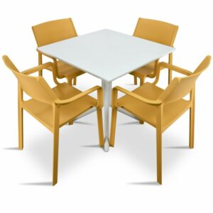 Clip Trill 5 Piece Dining Set Armchairs White Mustard Chairs