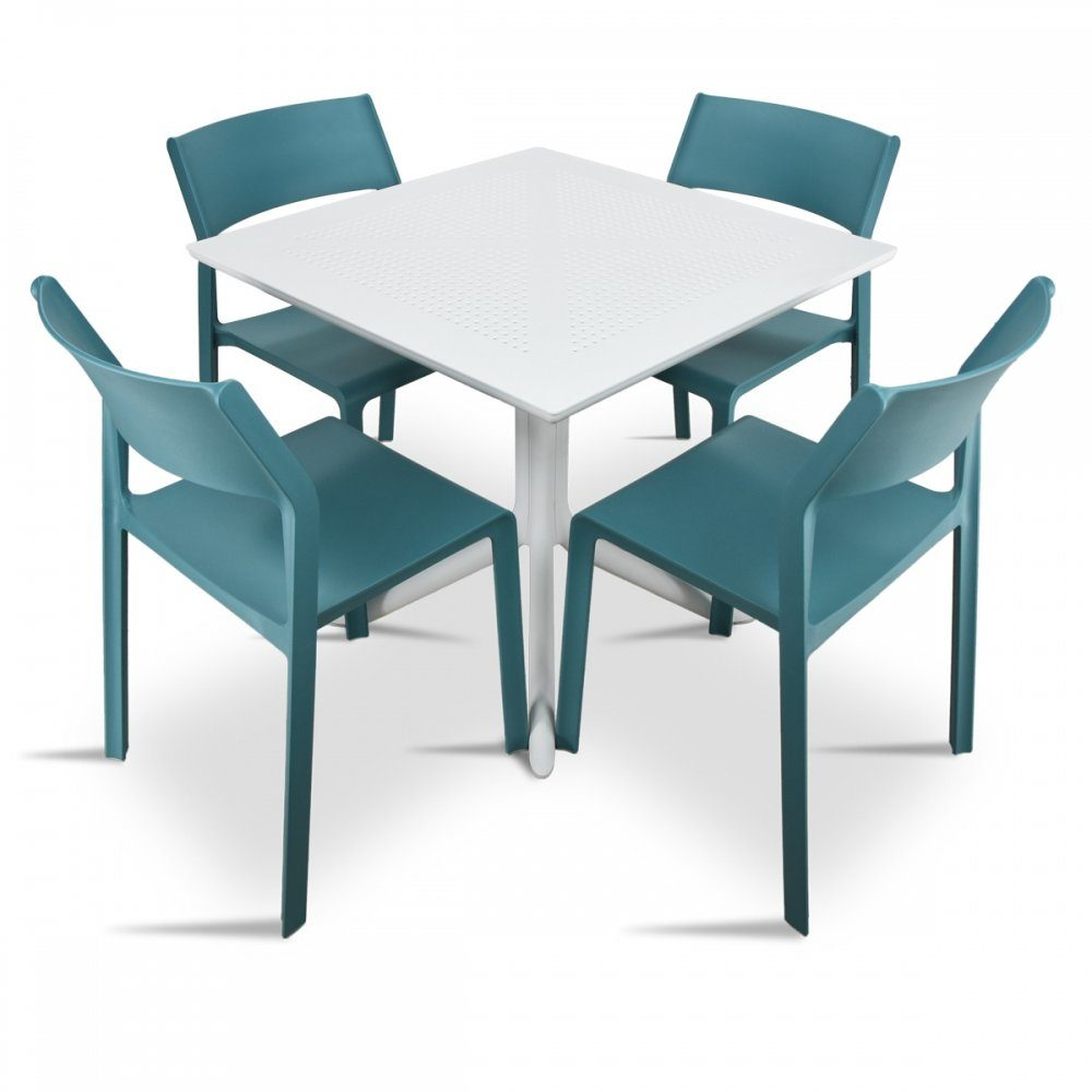 Clip Trill Bistro 5 Piece Dining Set – White & Teal Chairs