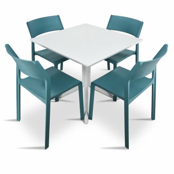 Clip Trill Bistro 5 Piece Dining Set - White & Teal Chairs