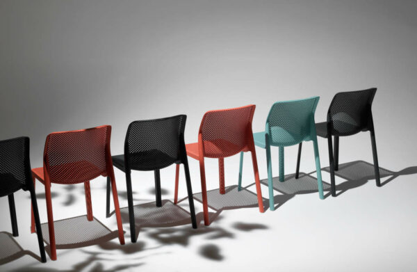 NARDI Bit Chairs in Coral, Charcoal and Spearmint