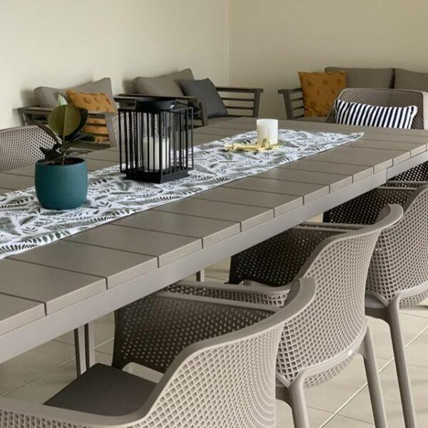 NARDI Net Rio 9-Piece Dining Setting - Taupe