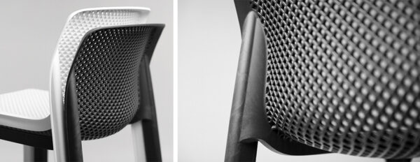 Close up of Seat and Back of the NARDI Net Tall Bar Stools in Charcoal and White
