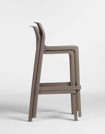 NARDI Net Tall Bar Stools Stacked Together in Taupe Colour