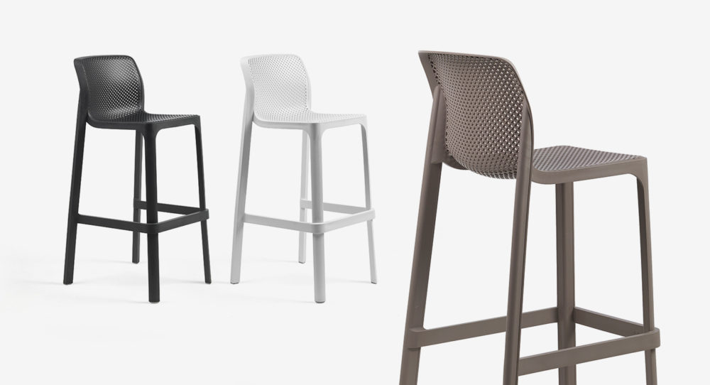 Net Tall Bar Stools in Charcoal, White & Taupe