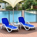 NARDI Alfa 3-Piece Sun Lounger Set – White & Blue