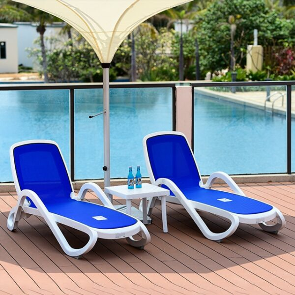 NARDI Alfa 3-Piece Sun Lounger Set - White & Blue