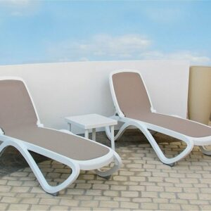 Omega 3 Piece Sun Lounger Set - White & Taupe