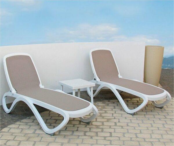 Omega 3 Piece Sun Lounger Set - White & Taupe
