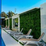 Omega 3-Piece Sun Lounger Sets (White & Taupe) next to living wall and pool