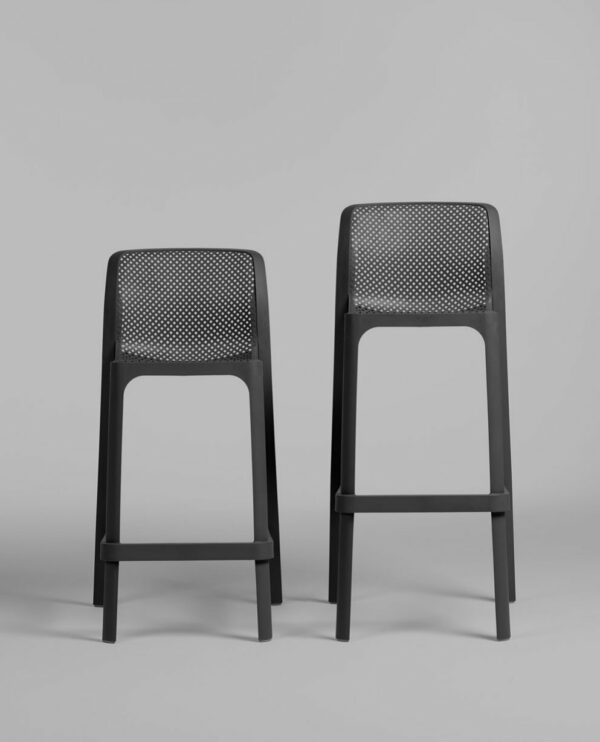 NARDI Net Kitchen Counter Stool and Net Stool (Commercial Height) Side by Side in Charcoal